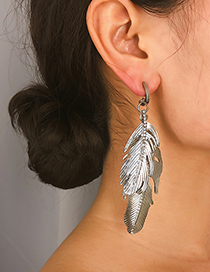 Fashion Silver Multi-layered Leaf Alloy Stud Earrings