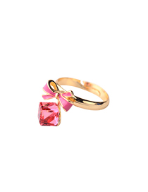 Fashion Red Drip Oil Bow Open Ring