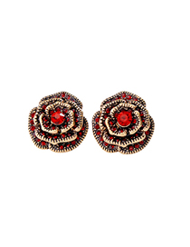 Fashion Big Red Rose Flower Earrings