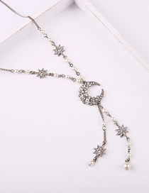 Fashion White Star And Moon Diamond Necklace