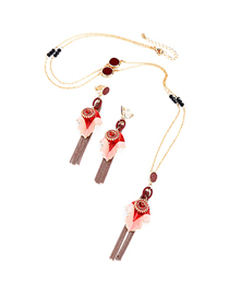 Fashion Red Oyster Drop Flower Fringed Diamond Necklace