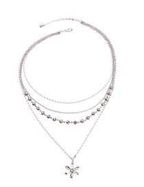 Fashion Silver Star-studded Multi-layer Necklace