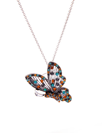 Fashion Silver Butterfly Diamond Pendant Necklace