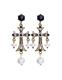 Fashion Blue Cross Pearl With Diamond Stud Earrings