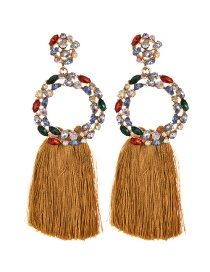 Fashion Ginger Yellow Alloy Diamond Ring Tassel Earrings