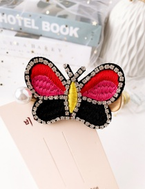 Fashion Color Pearl-studded Embroidery Butterfly Stud Hair Clip