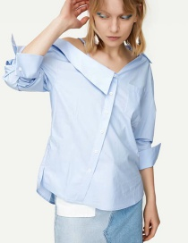 Fashion Blue Irregular Off-the-shoulder Lapel Shirt