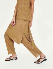 Fashion Khaki Pure Linen Split Culottes Trousers