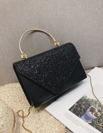 Fashion Black Sequins Square Shape Decorated Shoulder Bag