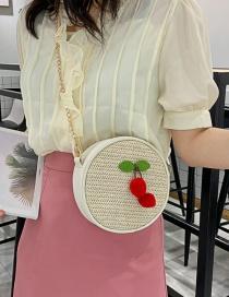 Fashion White Woven Broadband Shoulder Messenger Bag