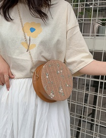 Fashion Brown Straw Chain Shoulder Messenger Bag