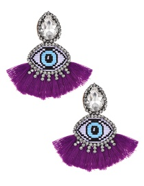 Fashion Purple Alloy Rhinestone Eye Tassel Earrings