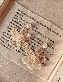 Fashion Nude Flower Straw Large Flower Metal Earrings