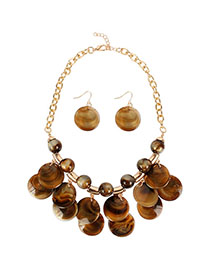 Fashion Brown Streaming Bead Necklace