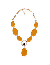 Fashion Yellow Single Layer Beaded Necklace