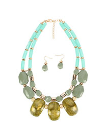 Fashion Green Shaped Beaded Bead Necklace