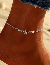 Fashion Silver Starfish Pearl Anklet