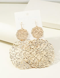 Fashion Round Gold Geometric Metal Love Hollow Earrings