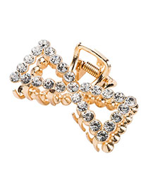 Fashion Gold Pearl-studded Metal Cutout Bow Hairpin