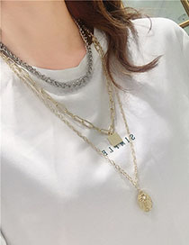 Fashion Gold Metallic Geometric Tag Key Multi-layer Coin Necklace