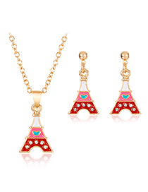 Fashion Red Alloy Pyramid Necklace Earring Set