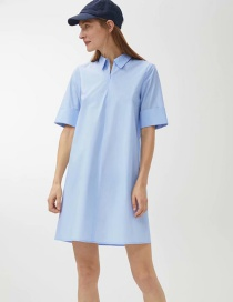 Fashion Blue Solid Color A Version Of Sleek Cotton Dress