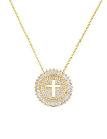 Fashion Gold Full Drill Hollow Cross Zircon Copper Plated Necklace