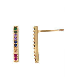 Fashion Strip Geometric Lightning Zircon Micro-set Earrings