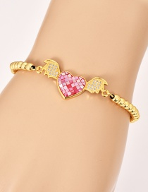 Fashion Gold Copper Inlay Zircon Beaded Love Wings Bracelet