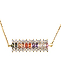 Fashion Gold Copper Inlaid Zircon Square Necklace