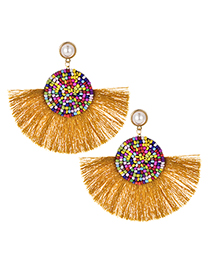 Fashion Ginger Yellow Alloy Beaded Pearl Tassel Stud Earrings