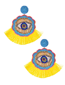 Fashion Yellow Rice Beads Flower Eyes Tassel Earrings