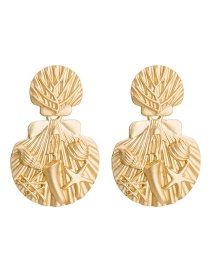 Fashion Gold Embossed Starfish Shell Metal Earrings