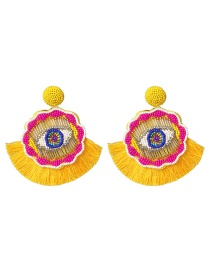 Fashion Yellow Rice Beads Earrings