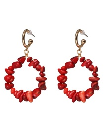 Fashion Red Stone Texture Earrings