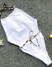 Fashion White Drawstring Contrast Color One-piece Swimsuit