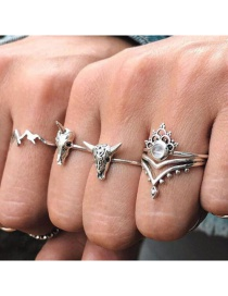 Fashion Silver Niu Tau Ma Da Shan Dad Diamond Crown Ring Set Of 4