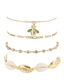 Fashion Gold Water Drop Chain Shell Small Bee Alloy Anklet 4 Piece Set