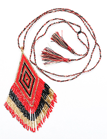 Fashion Red Necklace Fringed Woven Necklace Bracelet Set