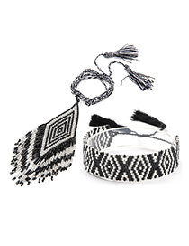 Fashion Black Suit Fringed Woven Necklace Bracelet Set
