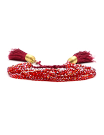 Fashion Red Crystal Beaded Fringed Stainless Steel Gold Plated Bracelet