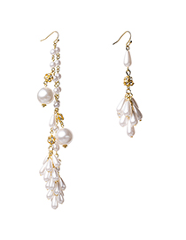 Fashion Gold Pearl Asymmetrical Acacia Flower Earrings