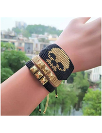 Fashion Black Suit Taro Rivet Woven Rice Bead Bracelet