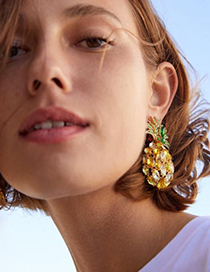 Fashion Yellow Alloy Studded Pineapple Earrings