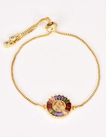 Fashion S Gold Copper Inlaid Zircon Letter Bracelet