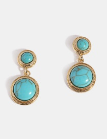 Fashion S925 Silver Needle - Blue Turquoise Turquoise Silver Needle Earrings