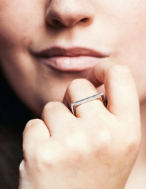 Fashion Steel Color Stainless Steel D Letter Ring