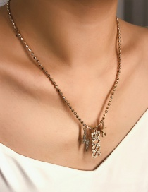 Fashion Gold Lightning Beaded Chain With Letter Star Necklace