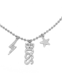 Fashion White K Lightning Beaded Chain With Letter Star Necklace