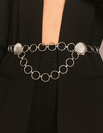 Fashion White K Embossed Scallop Circle Geometric Tassel Waist Chain
